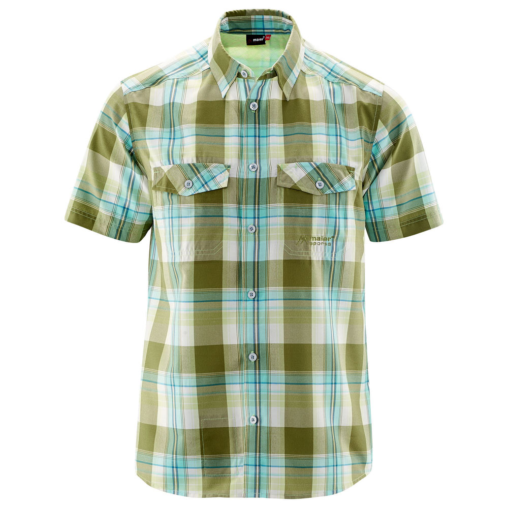 Mens Loke Short Sleeve Top (Dark Green/Light Green Check)
