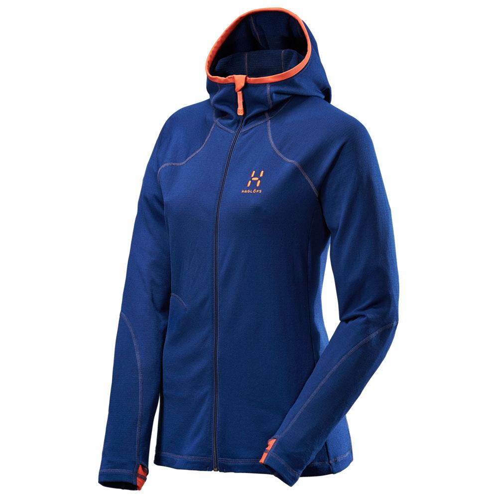 Womens Actives Warm II Hooded Jacket (Hurricane Blue)