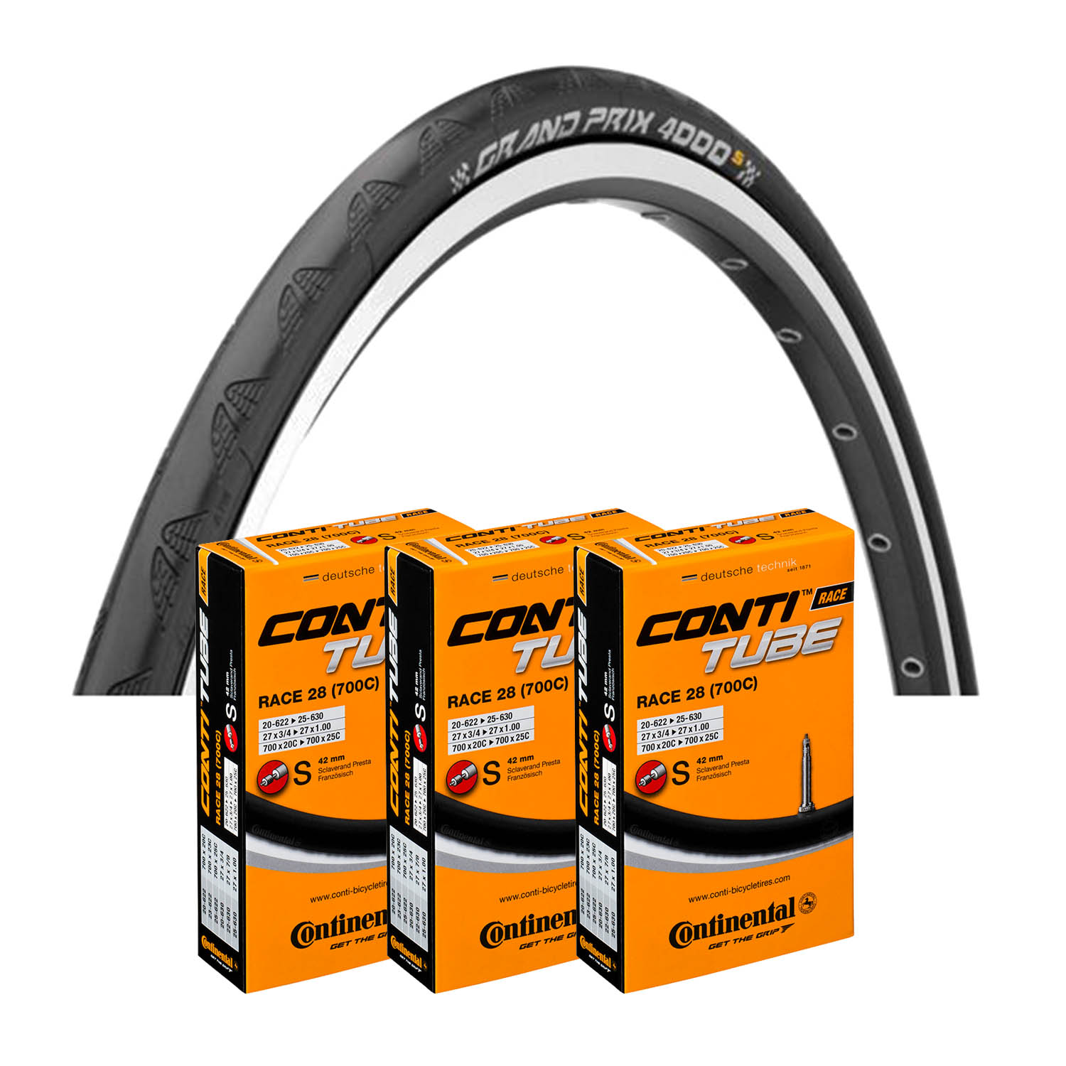 GP 4000 S Tyre & Pack of 3 Tubes