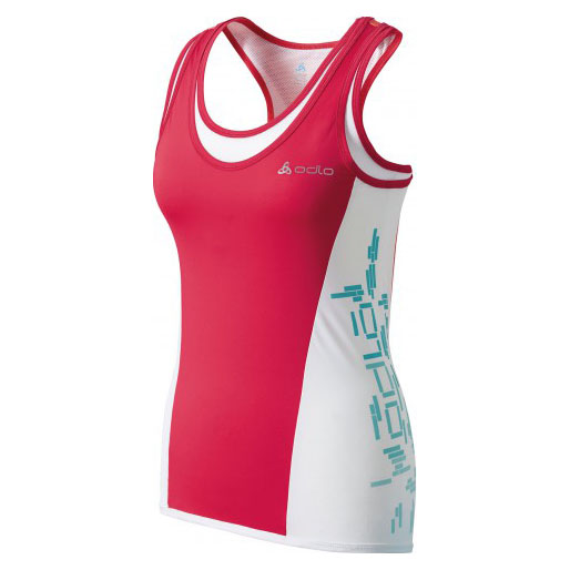 Womens Flora Singlet (Rose Red/Hot Coral/Peacock Blue)