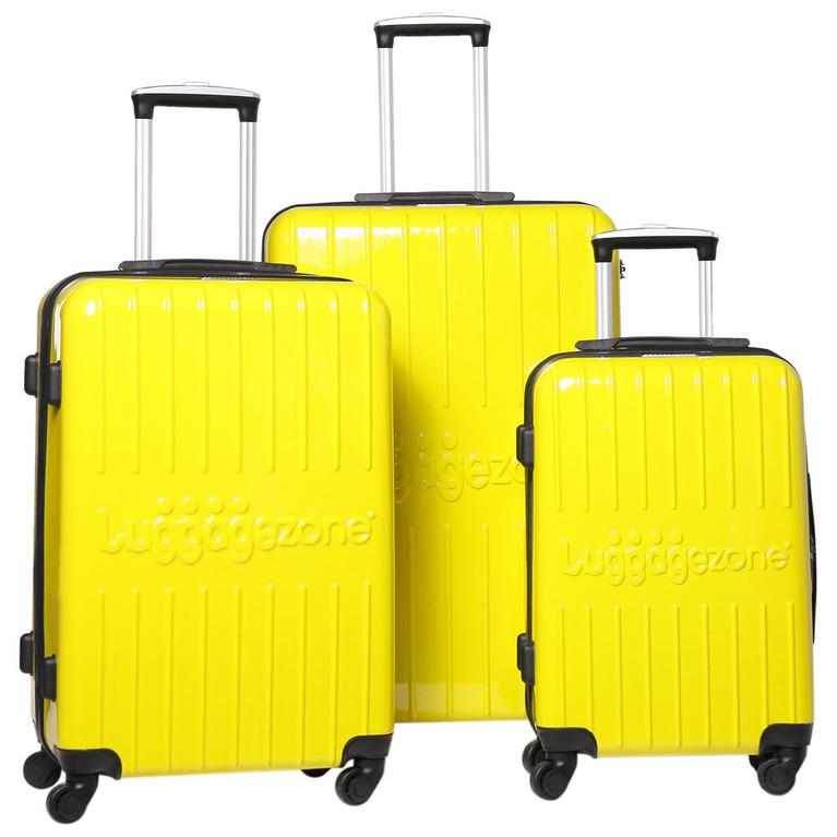 Luggage Zone Hard Set of 3 LZ8866 Suitcases (Yellow ...