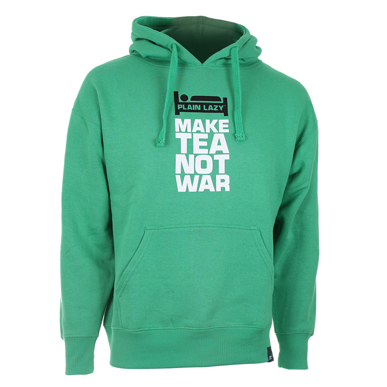 Plain Lazy Mens Make Tea Not War Hoodie (Irish Green