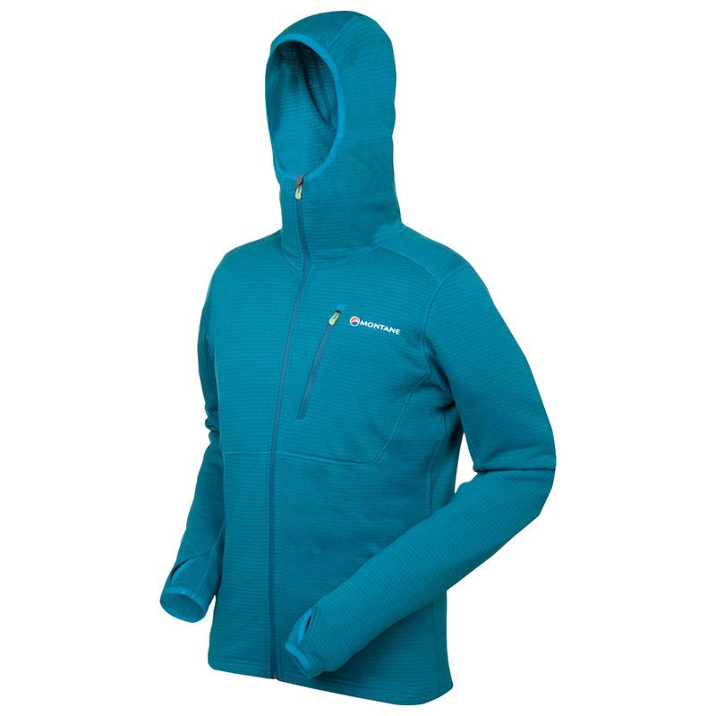 Montane Mens Power Up Hoodie Green Sports Outdoors Full Zip Hooded Warm