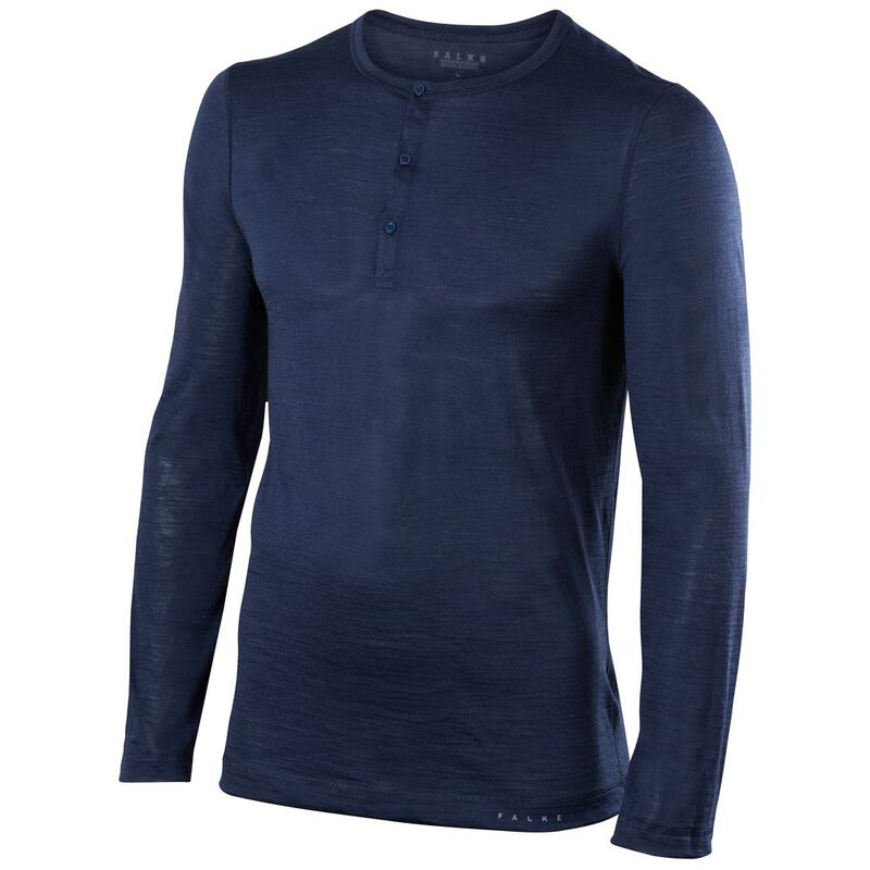 0c24df8c Falke Mens Silk Wool Long Sleeve Shirt (Space Blue)   Sportpursuit.com