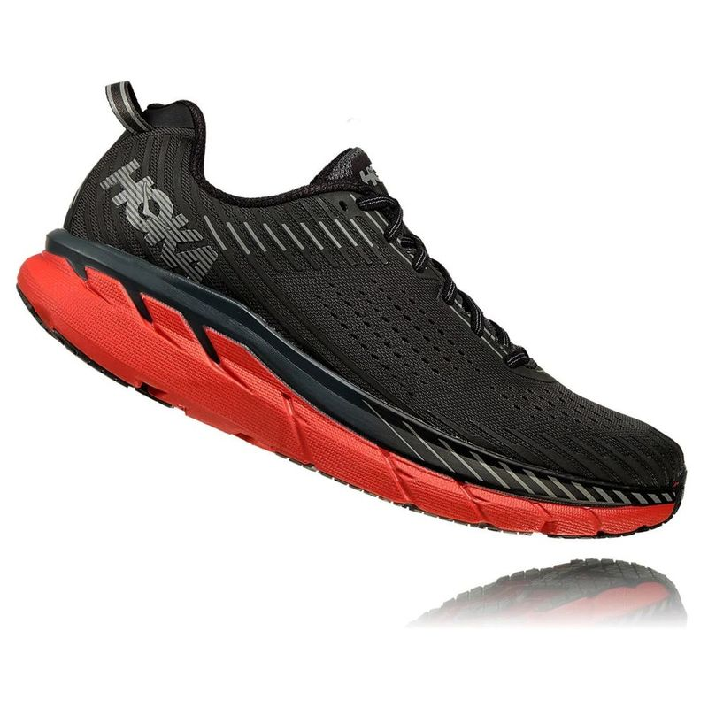 Hoka One One Mens Clifton 5 Shoes (Dark ShadowSpicy Orange
