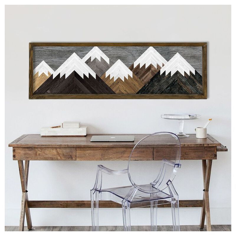 Woody Ville Mountains Wooden Wall Art Multi Sportpursuit Com