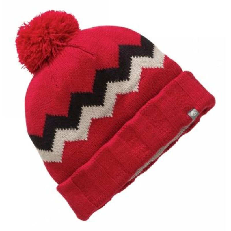 Mens Knitted Pattern Bobble Hat (Dark Red) SportPursuit.com