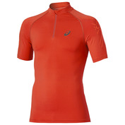 Mens Inner Muscle 1/2 Short Sleeve Zip Top (Red)