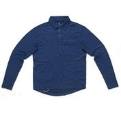 Mens Long Sleeve Merino Polo (Navy Blue)