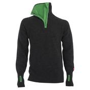 Mens Rav Zip Merino Top (Grey/Green)