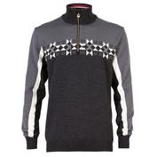 Mens Fjell Merino Sweater (Black/Off White/Dark Charcoal)