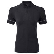 Womens Slipstream Short Sleeve Zip-Up (Black)
