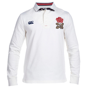 Mens England Long Sleeve Plain Rugby Shirt (Vintage White)