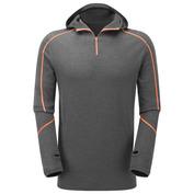 Mens Merino Contrast Stitch Hooded Zip Top (Graphite\/Orange)