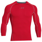 Mens HeatGear Armour Long Sleeve Top (Red/Steel)