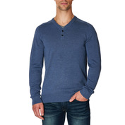 Mens Pullover with Elbow Patches (Denim Blue)