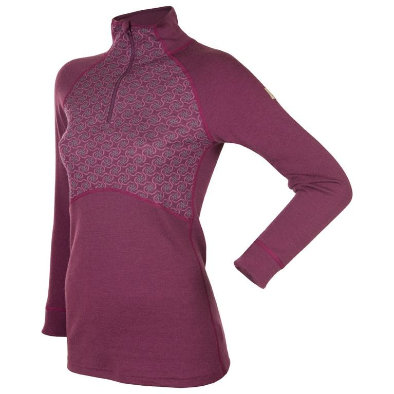Womens Designwool Long Sleeve Zip Top (Purple)