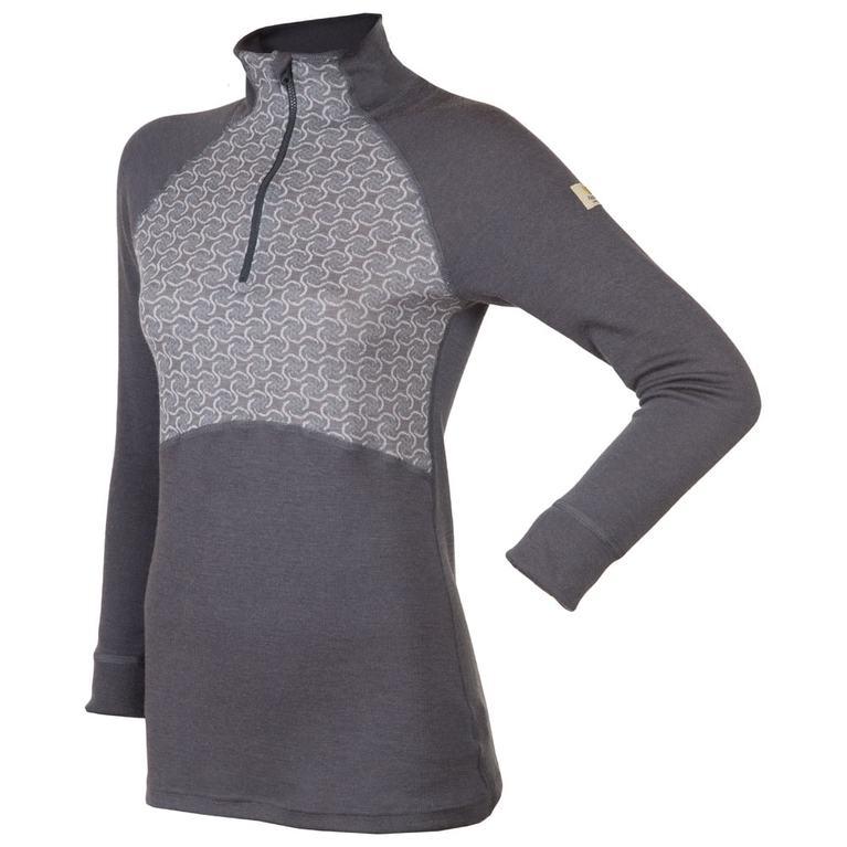 Womens Designwool Long Sleeve Zip Top (Grey)