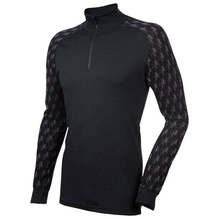 Mens Designwool Long Sleeve Top (Dark Grey)