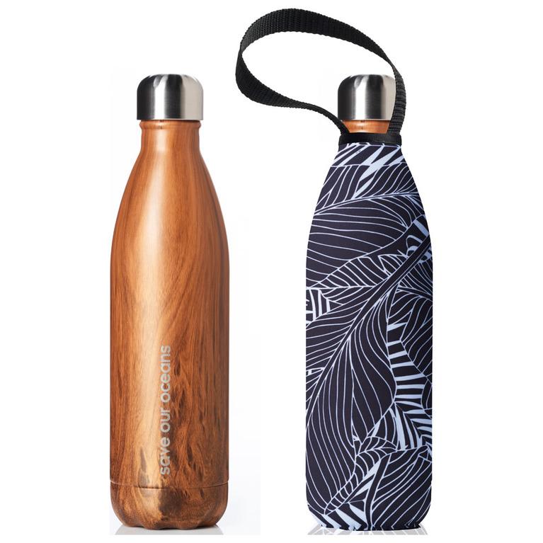 Future Bottle & Cover 750ml (Wood Leaf Print)