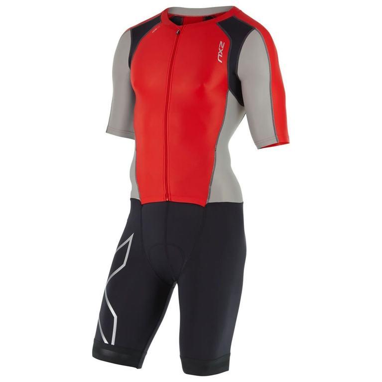Mens Compression Full Zip Sleeved Trisuit (Flamed Scarlet/Frost Grey)