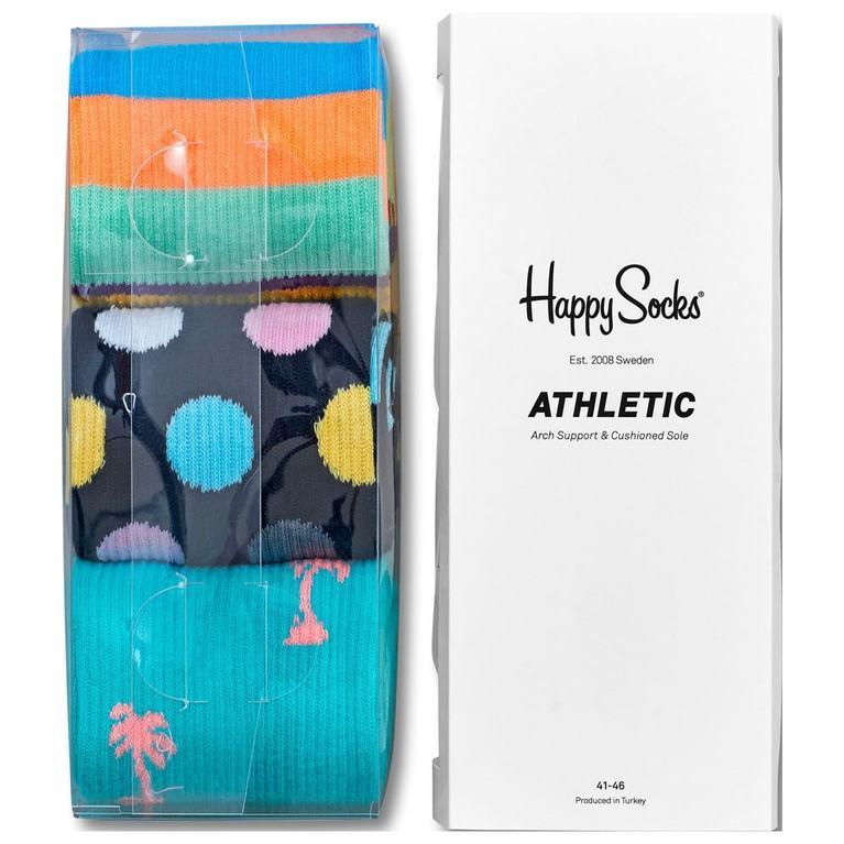 Athletic Socks (3 Pack - Spots/Stripes/Palms)
