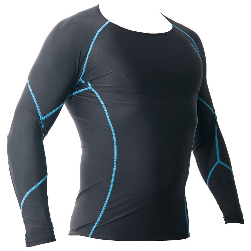 Mens Long Sleeve Compression Top (Black/Blue)