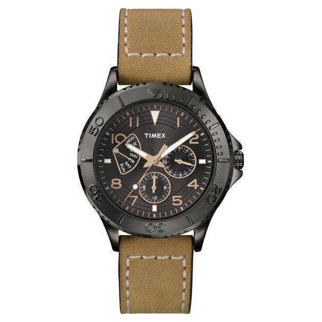 Mens Retrograde Watch (Black/Tan)