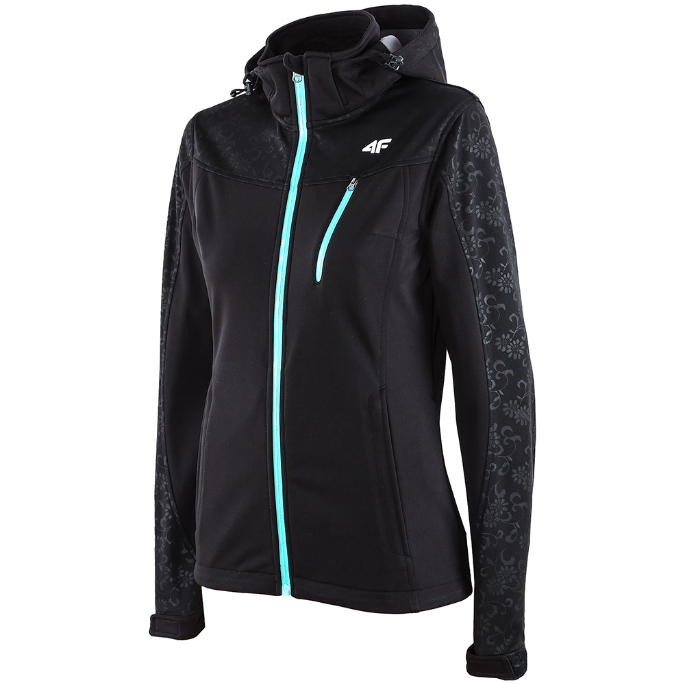 Womens Hooded Softshell Jacket with Chest Pocket (Black)