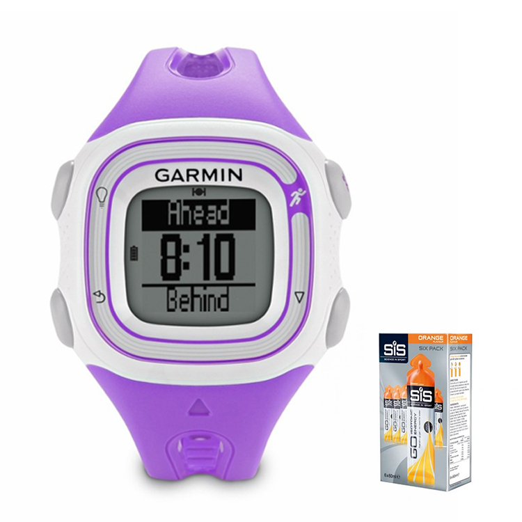 Garmin Forerunner 10 (Violet/White) With 6 x 60ml SiS Energy Gels