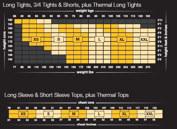 skins calf compression size guide