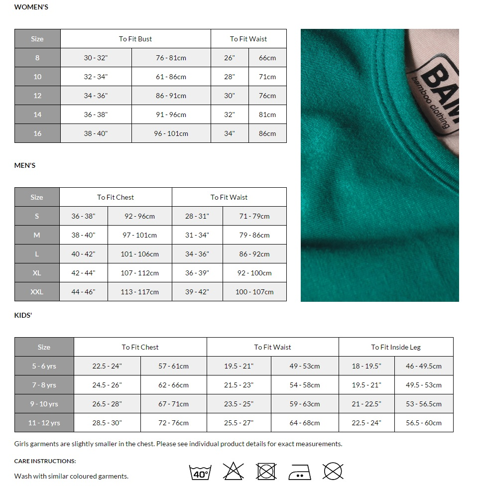 Bam size guide bam bamboo clothing size guide foot size conversion chart nvjuhfo Choice Image