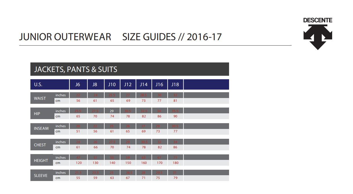 Descente size guide