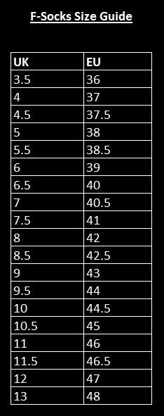 F-Socks Size Guide