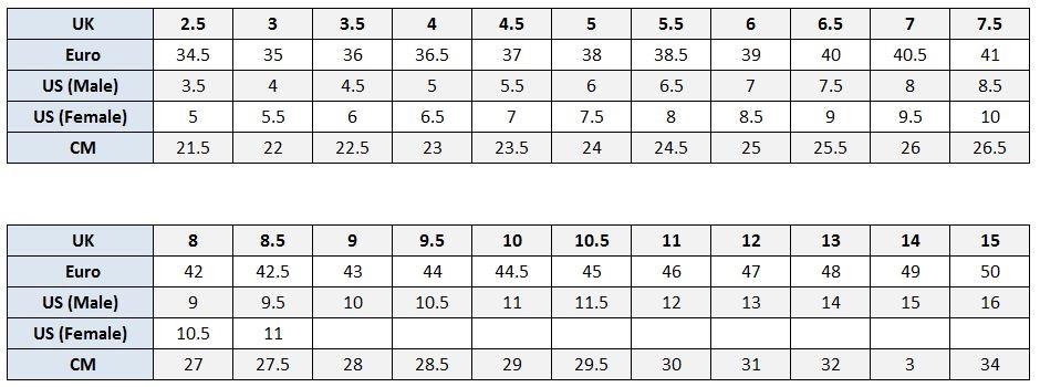 Tretorn Shoe Size Chart