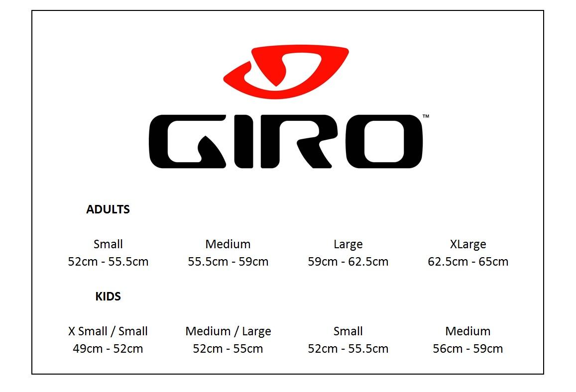 Bildergebnis für giro helmet size guide