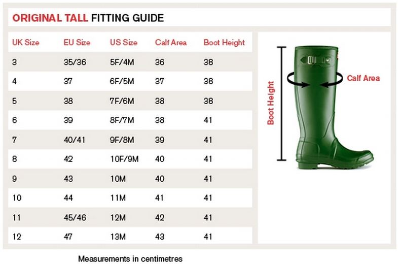 097094cd2 Hunter Tall Size Guide