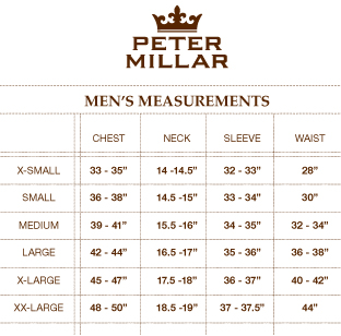 Peter Millar Size Guide | SportPursuit.com