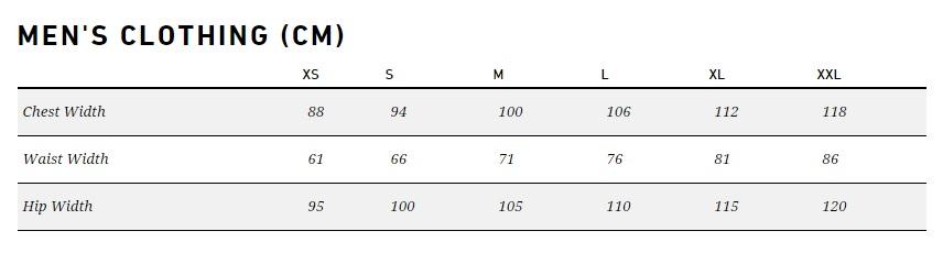 asics tiger size chart