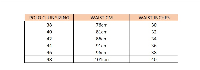 Polo club size guide