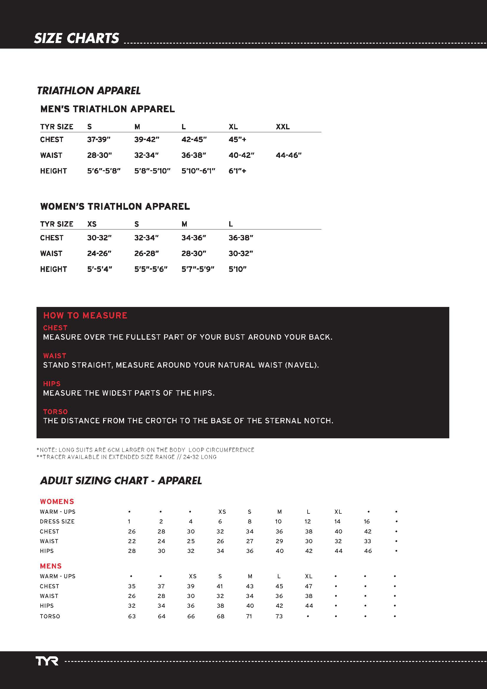 Tyr Size Guide