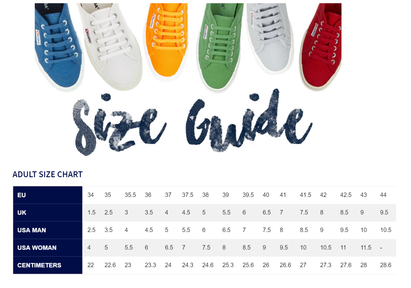 Superga size guide sportpursuit com
