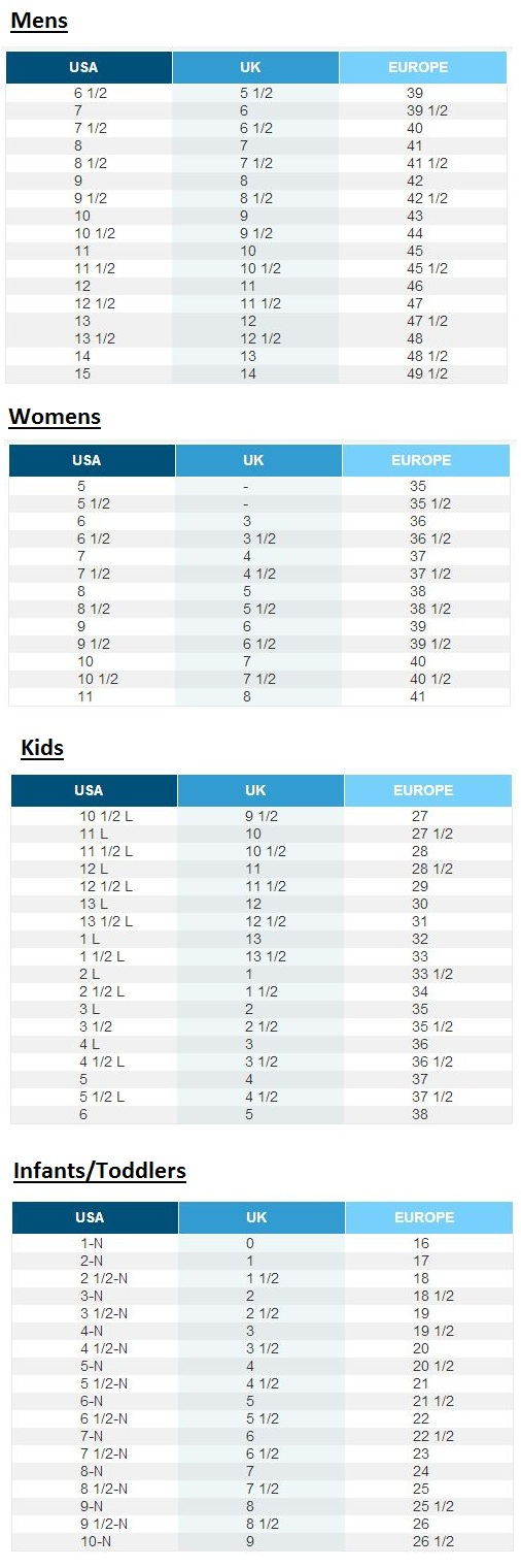 skechers shoes size chart