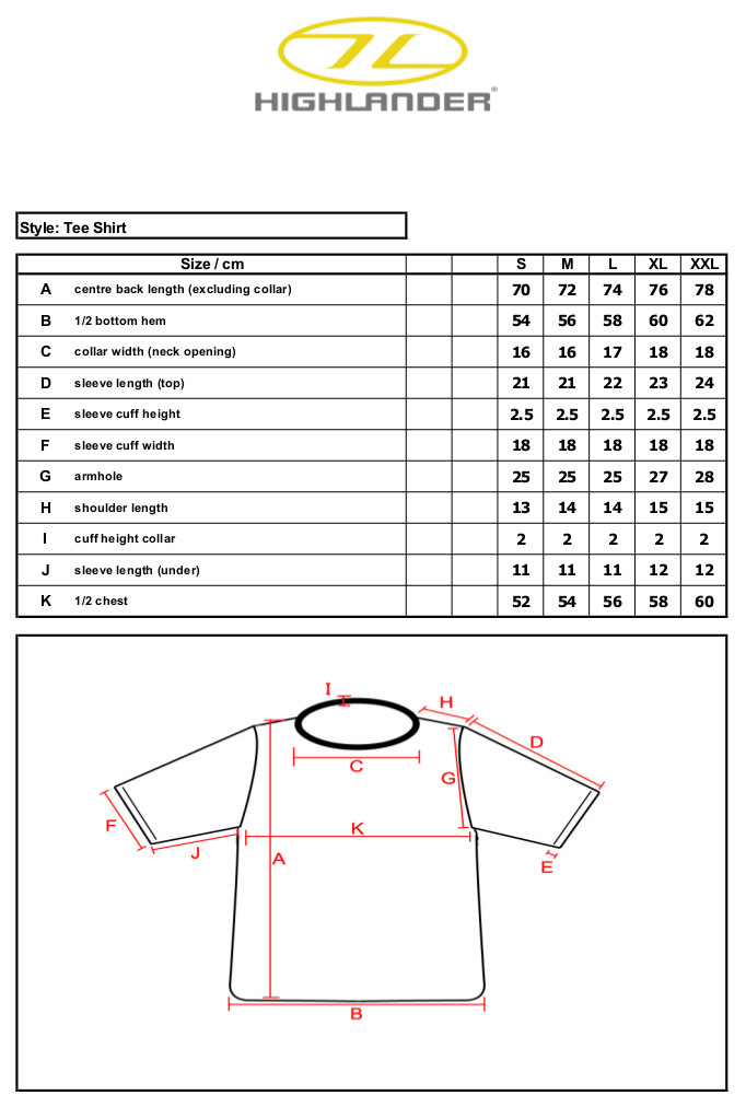 Tee_Shirt_Short_Sleeve_ _Size_Specification_Sheet sportpursuit great deals on great kit up to 70% off