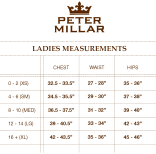 Peter Millar Size Guide