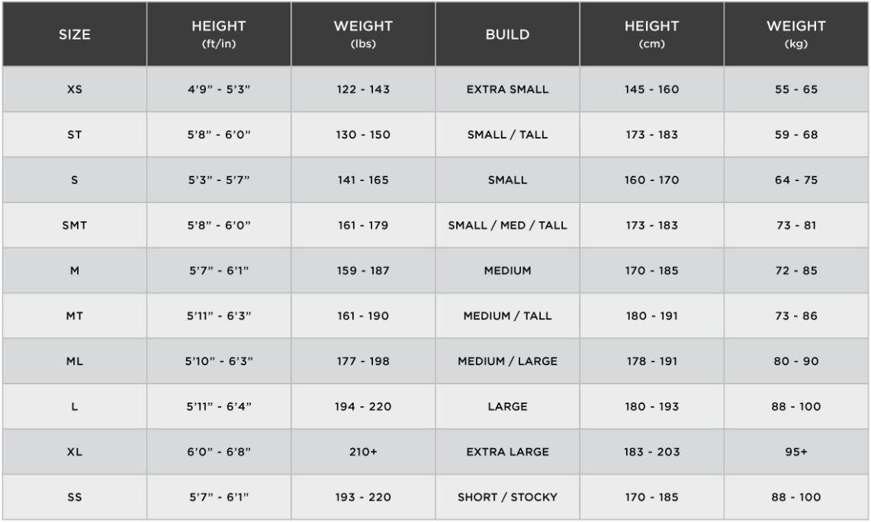 Huub Size Guide