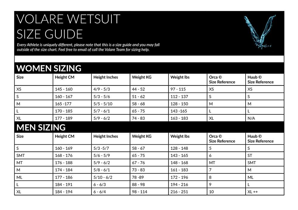 133e50b1a7c6f Volare Size Guide
