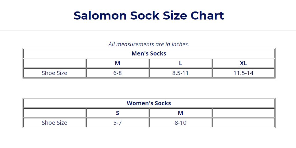 9f31586d1f Salomon Footwear Size Guide