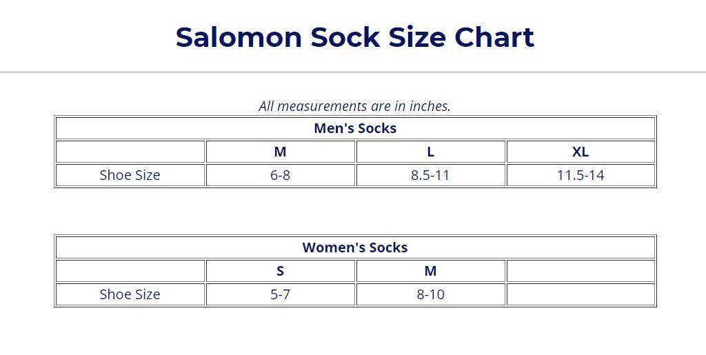 more photos c881c 367c7 Salomon Size Guide